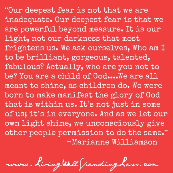 our deepest fear marianne williamson quotes quotesgram